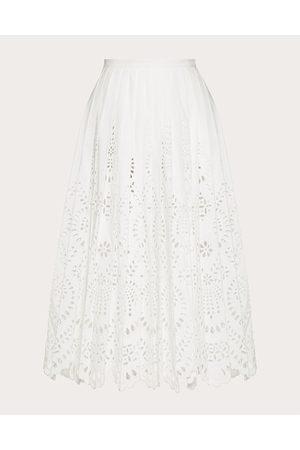 VALENTINO San Gallo Edition Cotton Poplin Skirt Women Polyester 25%, Cotton 75% 36