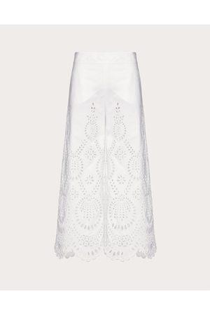 VALENTINO San Gallo Edition Cotton Poplin Pants Women Optic Cotton 100% 38