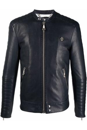 Philipp Plein Men Leather Jackets - Embroidered leather jacket