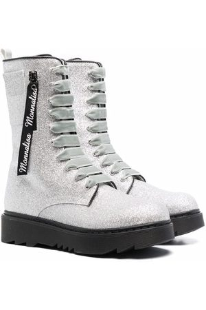 MONNALISA Lace-up Boots - TEEN glitter lace-up chunky boots