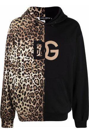 Dolce & Gabbana Leopard-print spliced DG logo hoodie - Neutrals