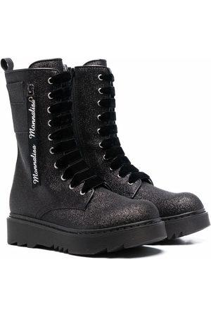 MONNALISA Rain Boots - Glitter lace-up chunky leather boots