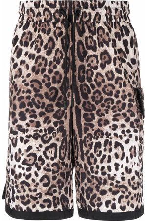 Dolce & Gabbana DG patch leopard print shorts - Neutrals