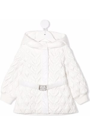 Moncler Puffer Jackets - Quilted logo belt mid-length coat