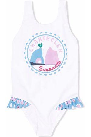 Simonetta Girls Swimsuits - Logo-print ruffle swimsuit