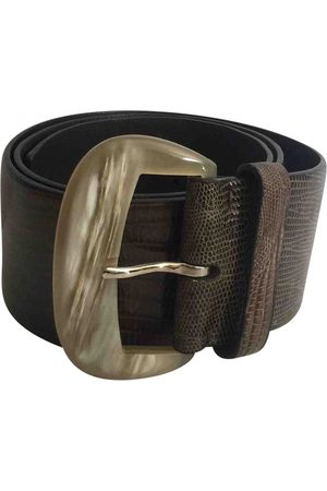 BRIONI Khaki Leather Belts