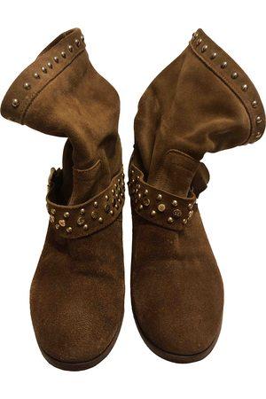 Elisabetta Franchi Camel Suede Ankle Boots