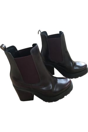 Miista Women Boots - Burgundy Leather Boots