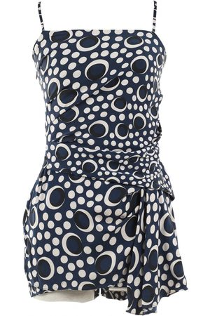 Diane von Furstenberg Navy Silk Jumpsuits