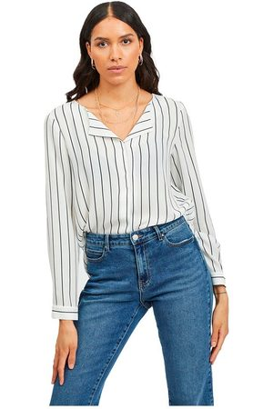 VILA Lucy Long Sleeve Shirt L Snow / Stripes Total Eclipse