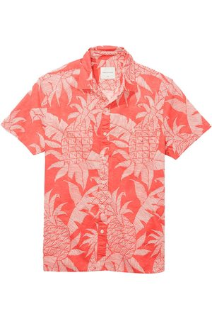 AMERICAN EAGLE Oxford Button-up Short-sleeve Shirt L Coral