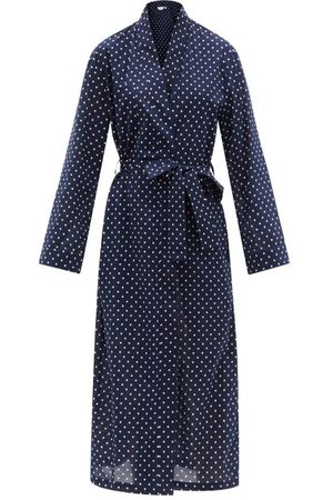 DEREK ROSE Women Bathrobes - Plaza 60 Polka-dot Cotton-twill Robe - Womens