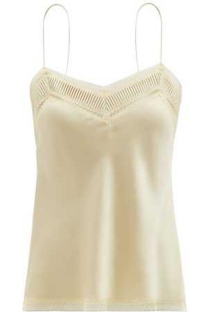 CARINE GILSON V-neck Lace-trimmed Silk-satin Camisole - Womens