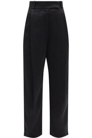 Totême Women Wide Leg Pants - Pleated Satin Wide-leg Trousers - Womens