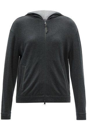 Brunello Cucinelli Zip-through Cotton-blend Hooded Sweatshirt - Womens - Dark Grey