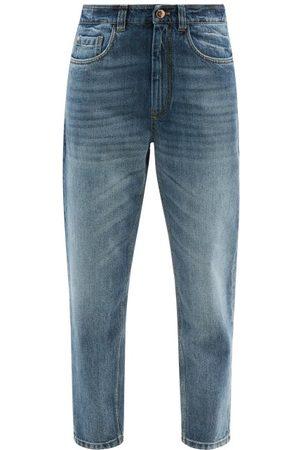 Brunello Cucinelli High-rise Garment-dyed Tapered-leg Jeans - Womens - Denim