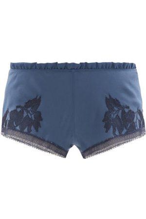 CARINE GILSON Ruffled Lace-trimmed Silk Pyjama Shorts - Womens