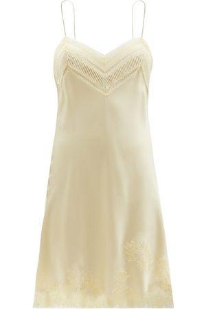 CARINE GILSON Lace-trimmed Silk-satin Slip Dress - Womens
