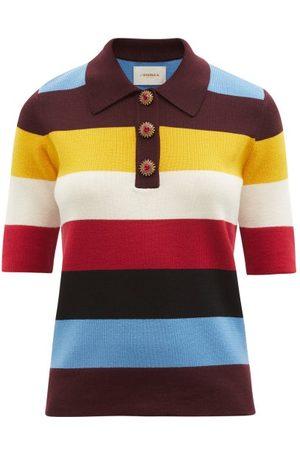La DoubleJ Striped Wool Polo Shirt - Womens - Stripe