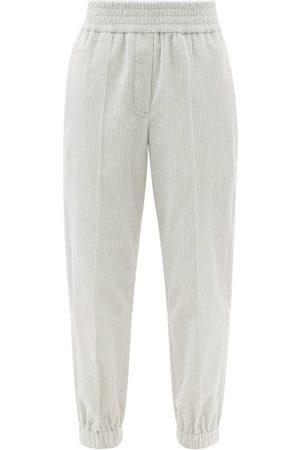 Brunello Cucinelli Elasticated-waist Cotton-corduroy Trousers - Womens - Light Grey