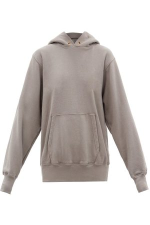 Les Tien Brushed-back Cotton Hooded Sweatshirt - Womens - Mid Grey