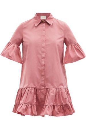 La DoubleJ Choux Ruffled Taffeta Mini Shirt Dress - Womens