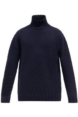 Raey Funnel-neck Slubbed Wool Sweater - Mens - Navy