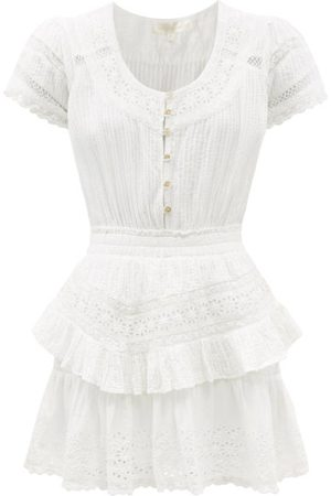 LOVESHACKFANCY Jeromie Crochet-trimmed Cotton-voile Mini Dress - Womens