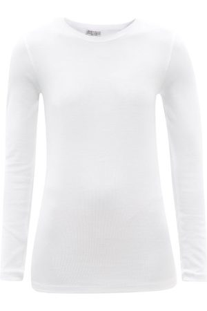 Brunello Cucinelli Ribbed Cotton-blend Jersey Long-sleeved T-shirt - Womens