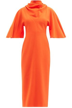 Roksanda Cowl-neck Tie-back Wool-crepe Midi Dress - Womens