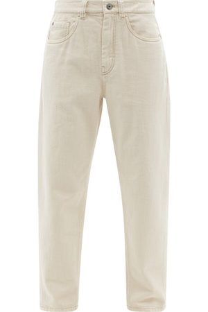 Brunello Cucinelli High-rise Garment-dyed Tapered-leg Jeans - Womens - Ivory