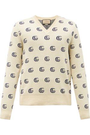 Gucci Men Sweaters - V-neck Gg-jacquard Cotton Sweater - Mens