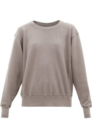 Les Tien Cropped Brushed-back Cotton Hooded Sweatshirt - Womens - Mid Grey