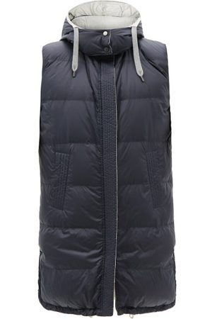 Brunello Cucinelli Reversible Quilted Down Technical-shell Gilet - Womens - Navy Multi