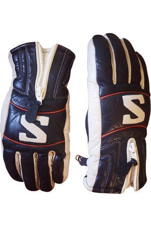 Salomon Navy Leather Gloves