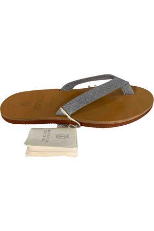 Brunello Cucinelli Grey Leather Sandals