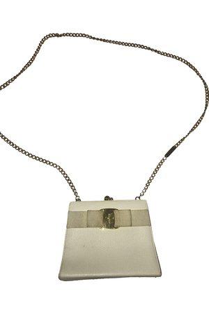 Salvatore Ferragamo Ecru Leather Clutch Bags