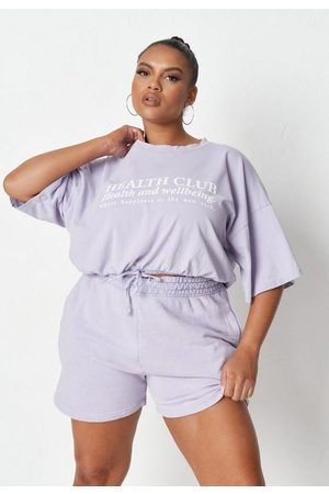 Missguided Plus Size Lilac Wellbeing Graphic Cropped T Shirt