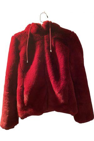 Maje Burgundy Polyester Leather Jackets