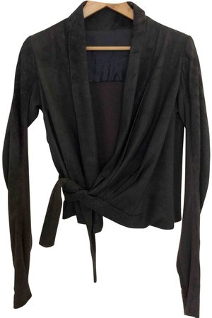 Rick Owens Anthracite Leather Jackets