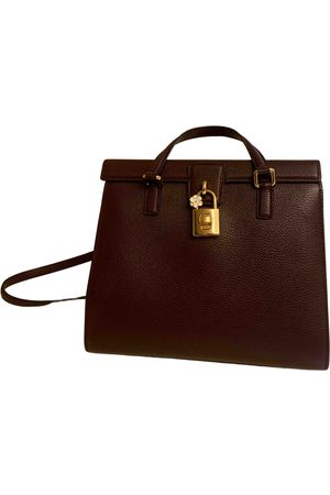 Dolce & Gabbana Burgundy Leather Handbags