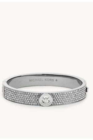 Outlet Michael Kors Women's Stainless Steel Pavé Hinged Bangle Bracelet