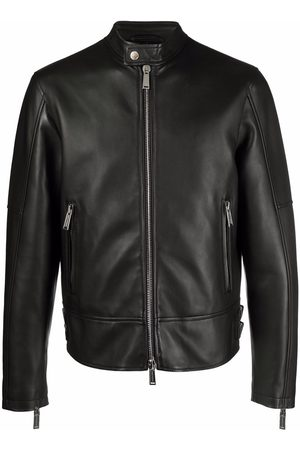 Dsquared2 Men Leather Jackets - Grained leather zip-up jacket