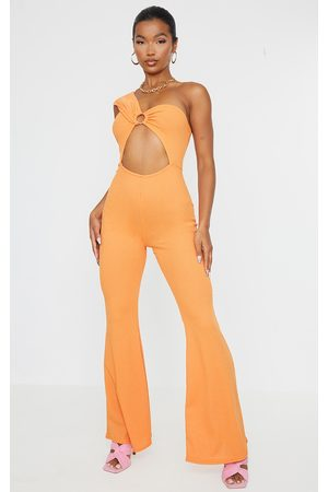 PRETTYLITTLETHING Tangerine Recycled Rib Ring Detail One Shoulder Jumpsuit