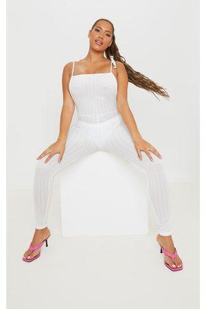 PRETTYLITTLETHING Women Jumpsuits - Shape Sheer Textured Strappy Back Split Hem Jumpsuit