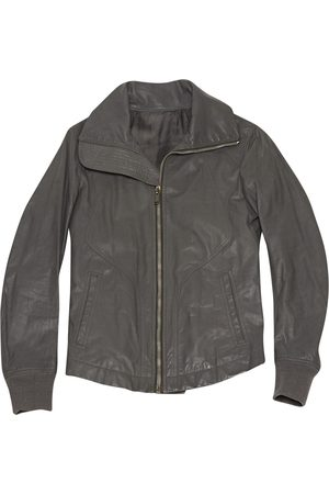 Rick Owens Grey Leather Jackets