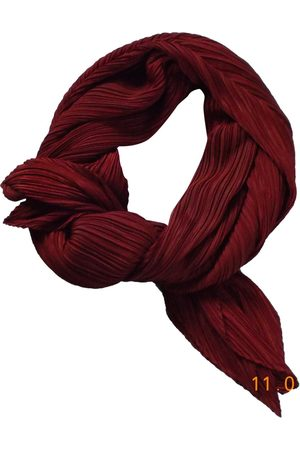 Issey Miyake Burgundy Polyester Scarves
