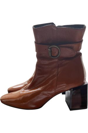 Jonak Camel Patent leather Ankle Boots