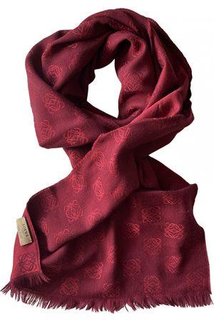 Loewe Burgundy Silk Scarves & Pocket Squares