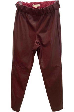 Michael Kors Burgundy Leather Trousers